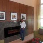 Taken by the fireplace in the lobby