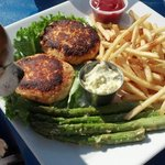 Crab cake platter $22. Crab cakes were OK but fries were great!!