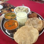 Rajasthani Thali at the rooftop restaurant..