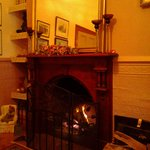 A welcome fire in one of the smaller TV/reading rooms