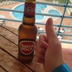 Local beer on balcony :)