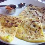 chapati filled with potatoes & pickles
