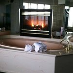 In-room jacuzzi and fireplace