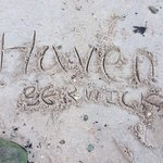 Our sand writing on the fabulous beach