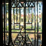 Leaded glass windows in entry hall