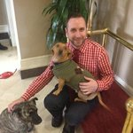 Jeremy Gordon, Asst GM, with Bella and Buddy
