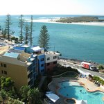 View from the balcony down to the resort pool and over to Bribie