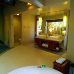The huge bathroom with Jacuzzi on the side