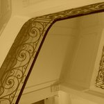 Stairwell with wrought iron balustrade