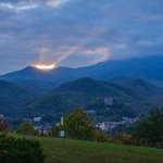 Sunrise from condo balcony overlooking Gatlinburg
