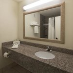 Bathroom well lit with ample vanity space