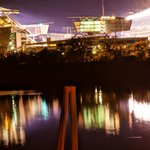 This is Paul Brown Stadium after a game. This picture was taken from the parking garage level A