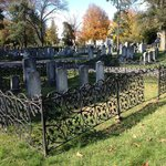 One of several family plots that are surrounded by rod iron fence