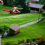 Rescue helicopter landing in the hotel garden.