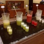 The juices available at the buffet