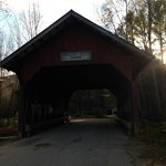 Covered bridge, adjacent to start of path into town