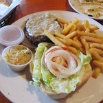 My blue cheese burger, french fries, & cole slaw