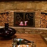 Large fireplace in lobby provided cozy spot for late night cookies and wine.