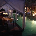 The cabanas at night