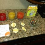 complimentary juices and snacks, thanks to management! :))