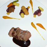 deer tenderloin with pumpkin, carrot, spiced red cabbage