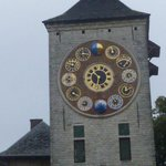 Detail of 12 clock faces on Zimmer Tower
