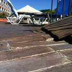 dodgy and dangerous decking by the pool