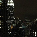A view of the Empire State building at night.