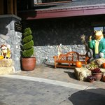 Hotel front decorated for fall