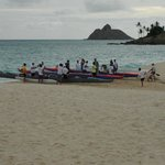 outriggers at Kailua beach park - ready to race