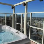 One of two hot tubs on rooftop