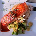 Grilled salmon with brussel sprouts