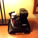 Coffee maker/coffee/tea in room.