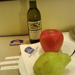 A little complimentary wine and fruit awaiting you in the room upon check-in.