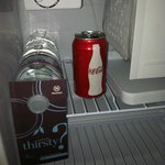 coke can left in fridge from previous guest