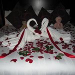 Our bedroom strewn with rose petals by the staff at the Ben Wyvis Hotel on 12th October 2013.