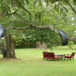 garden sculpture and river view seating