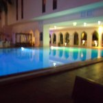 The courtyard pool at night.