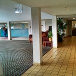 Open welcome lobby with coffee room & tv  Remember these pics are of the Motel 6  Fairgrounds...