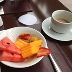 Fresh fruit & coffee for breakfast