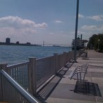 The Detroit River Walk is right outside the door.