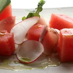 Watermelon tuna akami with slivered ginger & lemon grass ponzu