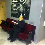 Alfred Hitchcook lounging at the reception area