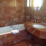 Large bathroom with lots of marble!