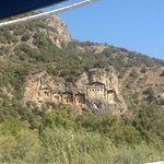 view of rock tombs from boat tour