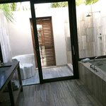 beautiful bathroom, very clean, nice outdoor shower