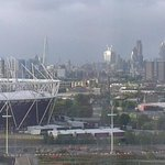view of the shard, gherkin and olympic stadium from our 10th floor room.