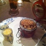 The jars were a nice touch - custard was very nice and tasty crumble too.