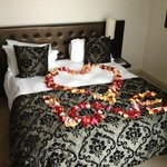 nice touch: Decorated Bed for our anniversary