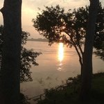 View from the balcony--sunrise over the Mekong
